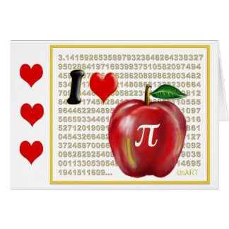 I Love Apple Pie  and Pi Math Numbers Red and Gold Card