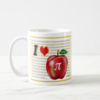 I Love Apple Pie  and Pi Math Numbers Red and Gold Coffee Mug