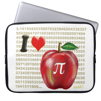 I Love Apple Pie and Pi Math Numbers Red and Gold Laptop Computer Sleeves