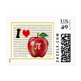 I Love Apple Pie  and Pi Math Numbers Red and Gold Postage