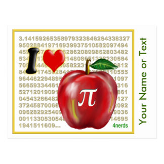 I Love Apple Pie  and Pi Math Numbers Red and Gold Postcard