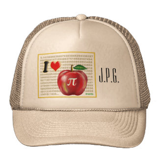 I Love Apple Pie  and Pi Math Numbers Red and Gold Trucker Hat