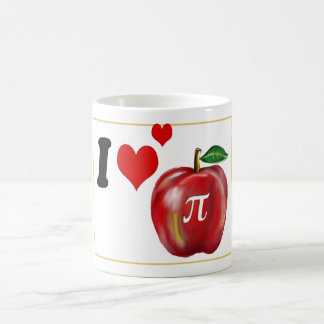 I Love Apple Pie and Pi  Red Green and Gold Coffee Mug