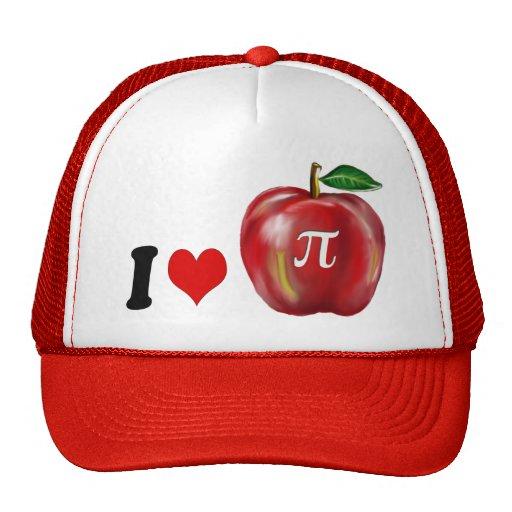 I Love Apple Pie or Pi Red Heart Green Leaf Gold Mesh Hat