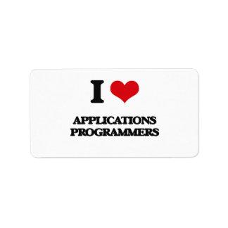 I love Applications Programmers Labels