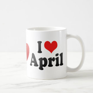 I Love April Classic White Coffee Mug