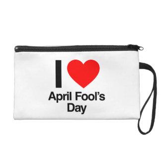 i love april fool's day wristlet clutch