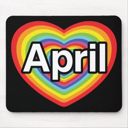 I love April, rainbow heart Mouse Pad