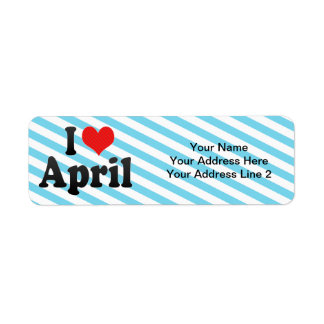 I Love April Return Address Label