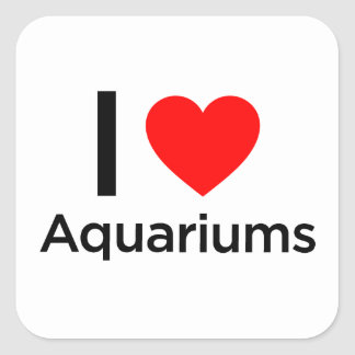 I Love Aquariums Square Sticker
