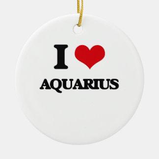 I Love Aquarius Double-Sided Ceramic Round Christmas Ornament