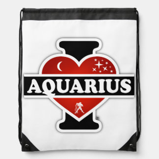 I Love Aquarius Drawstring Bag