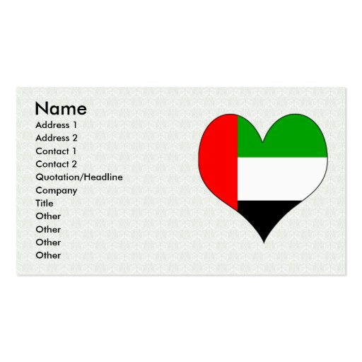 I Love Arab Emirates Double-Sided Standard Business Cards (Pack Of 100)