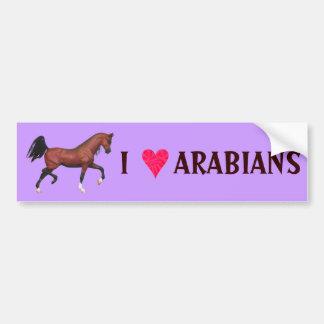 I Love Arabians Horse Lover Art Bumper Sticker Car Bumper Sticker