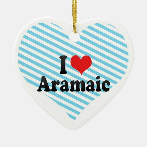 I Love Aramaic Double-Sided Heart Ceramic Christmas Ornament