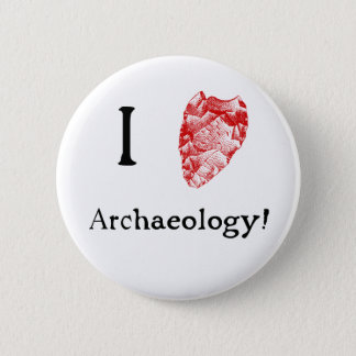 I Love Archaeology Badge Pinback Button