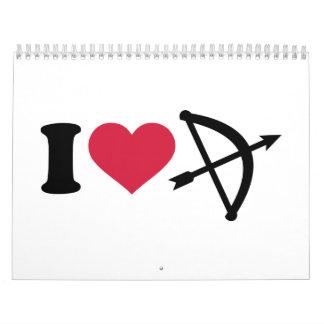 I love Archery arrow bow Calendar