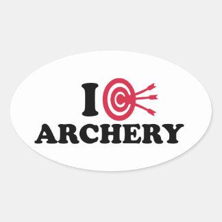 I love Archery bow arrow Oval Sticker