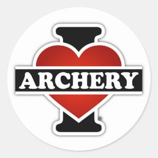 I Love Archery Classic Round Sticker