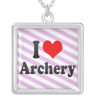 I love Archery Silver Plated Necklace