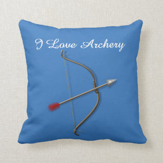 """I Love Archery"" Throw Pillow in Blue"