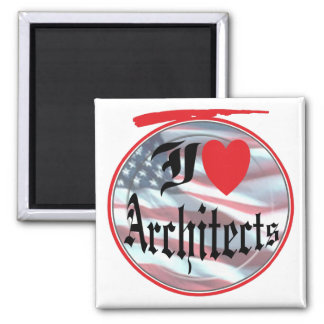 I Love Architects 2 Inch Square Magnet