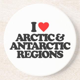 I LOVE ARCTIC ANTARCTIC REGIONS BEVERAGE COASTERS