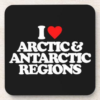 I LOVE ARCTIC ANTARCTIC REGIONS BEVERAGE COASTER