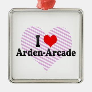 I Love Arden-Arcade, United States Square Metal Christmas Ornament