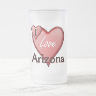 I Love Arizona Frosted Glass Beer Mug