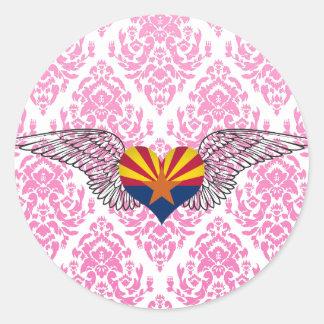 I Love Arizona -wings Classic Round Sticker