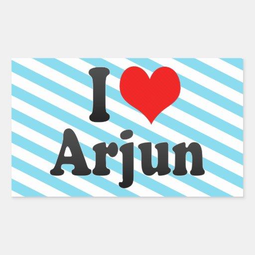 I love Arjun Rectangle Stickers