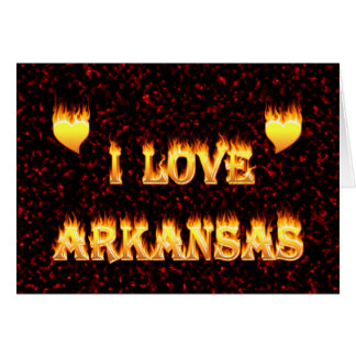 I love arkansas fire and flames card