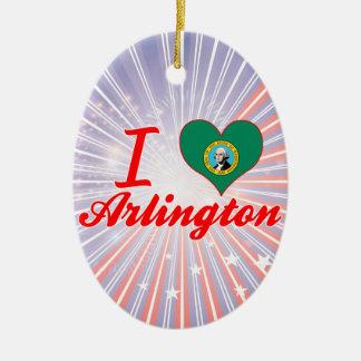 I Love Arlington, Washington Double-Sided Oval Ceramic Christmas Ornament
