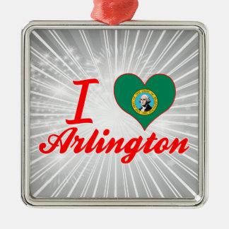 I Love Arlington, Washington Square Metal Christmas Ornament