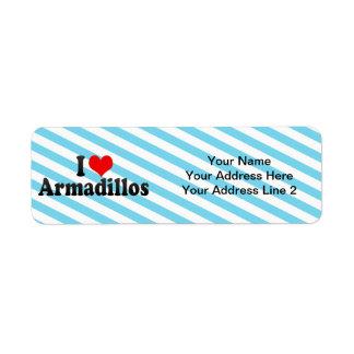 I Love Armadillos Custom Return Address Labels