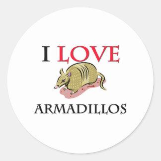 I Love Armadillos Round Stickers