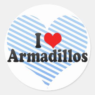 I Love Armadillos Round Sticker