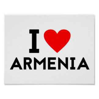 i love Armenia country nation heart symbol text Poster