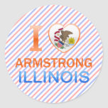 I Love Armstrong, IL Round Stickers