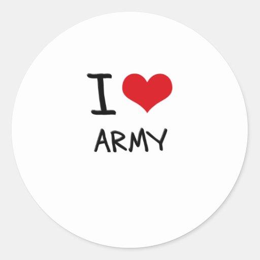 I Love Army Classic Round Sticker