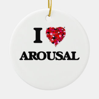 I Love Arousal Double-Sided Ceramic Round Christmas Ornament