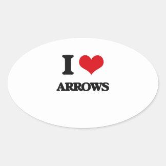 I Love Arrows Oval Stickers