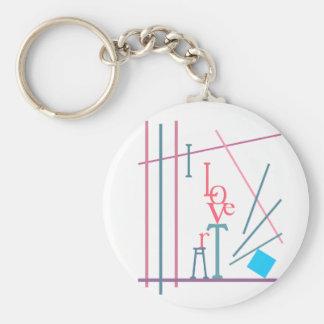 I Love Art Basic Round Button Keychain