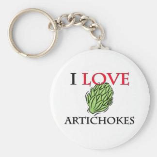 I Love Artichokes Basic Round Button Keychain