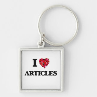 I Love Articles Silver-Colored Square Keychain