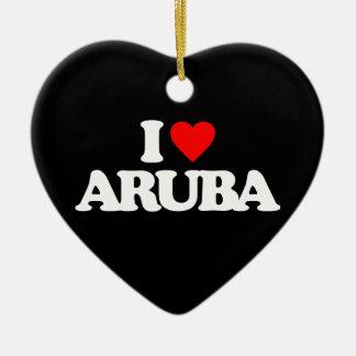 I LOVE ARUBA CERAMIC ORNAMENT