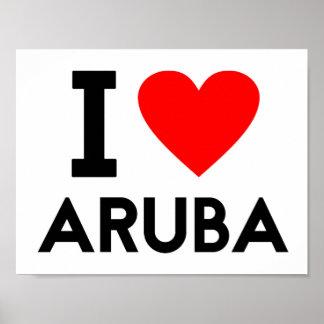 i love Aruba country nation heart symbol text Poster