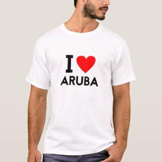 i love Aruba country nation heart symbol text T-Shirt