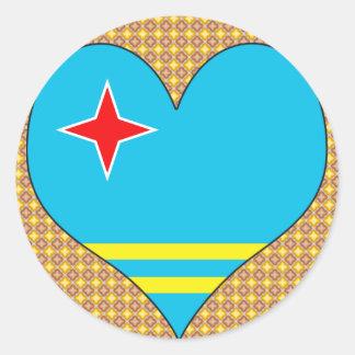 I Love Aruba Round Stickers
